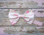 Shabby Chic Fabric Hair Bow Clippie/Pink and Aqua Floral Fabric Hair Bow/Infant, Toddler,Girls Large Shabby Chic Floral Hair Bow Clip