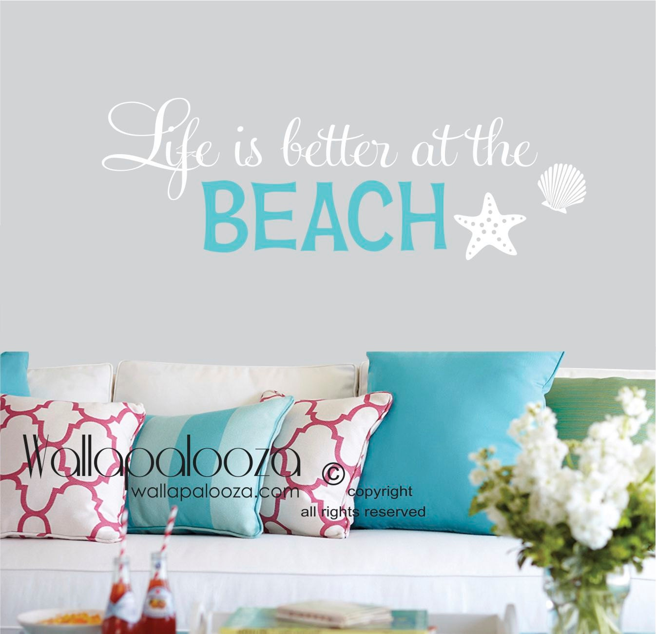Life is better at the beach wall decal beach wall quote zoom amipublicfo Image collections