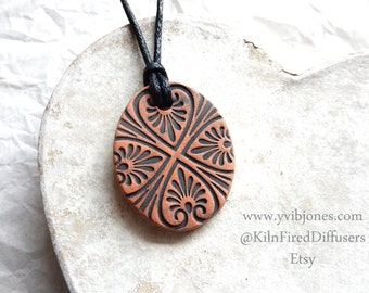 Aromatherapy Mandala Clay Diffuser Yoga NECKLACE Kiln Fired Terra Cotta Boho Black Terracotta Heart Pendant Natural Jewelry Adjustable Cord