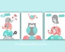 Girl nursery art prints, Nursery decor, baby girl nursery, Kids room decor, Coral, Turquoise, Birds, Elephants and turtle - Coral delight