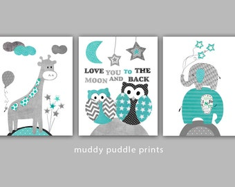 Teal and Grey Nursery prints, kids room wall art, Nursery decor, Baby Nursery, set of 3 print - Teal I love you to the moon and back