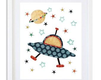 Space Nursery print, instant download printable art, space boys room art, kids room decor, digital print 8x10 11x14 - spaceship download