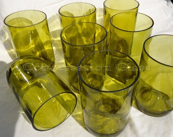 Wine Bottle Glasses made from Recycled Yellow Wine Bottles 12oz  Set of 8