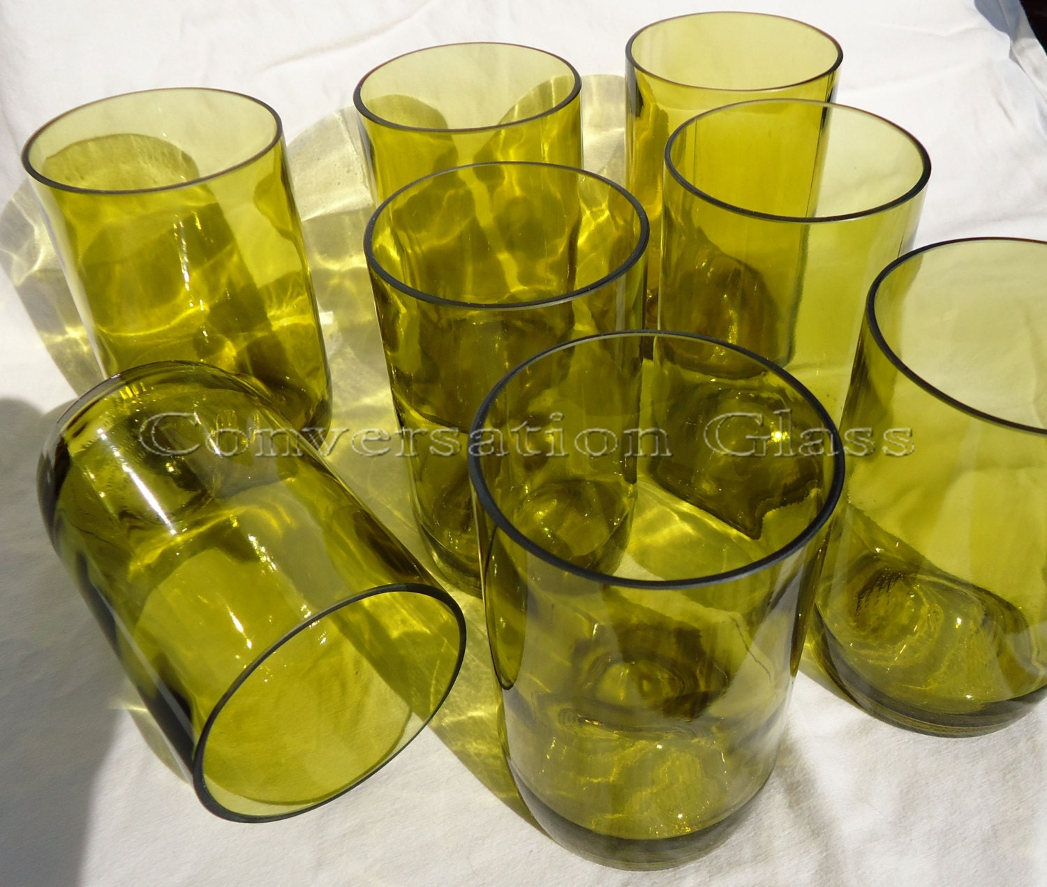 Recycled wine bottle glasses -  Glasses Made From Recycled Yellow Wine Bottles 12oz Set Of 8 Zoom