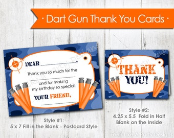 Dart Gun with Blue Camo Thank You Cards- Instant Download