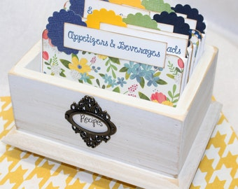 RECIPE BOX, Floral Dividers, White Recipe Box, Recipe Cards, Blue and Yellow kitchen, Distressed White Box, Blue Recipe Dividers