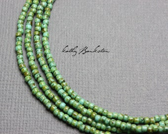 Turquoise Green Seed Bead Necklace, Green Seed Bead Necklace, Green Layering Necklaces, Boho Necklaces, Kathy Bankston, Single Strand Green