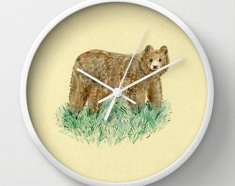 Bear Wall Clock, bear clock, woodland clock, forest clock, art clock, wall clock, woodland nursery, nursery clock, nature clock, modern