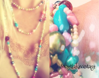 Multi colored long necklace