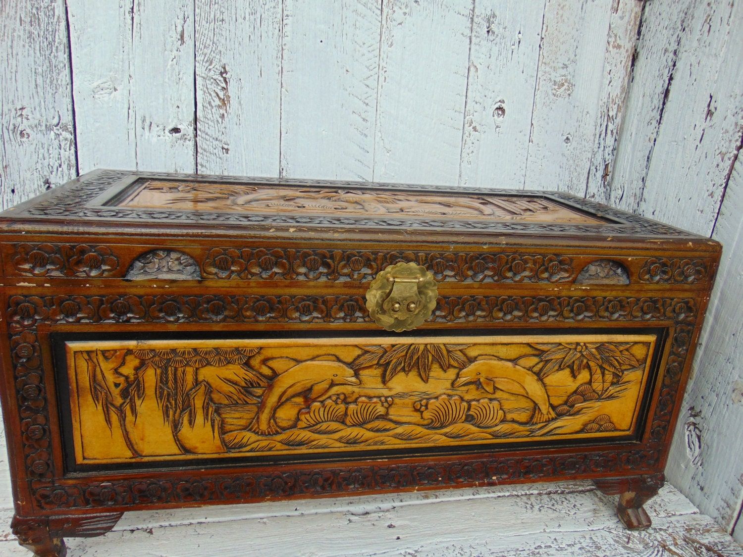 Vintage Wooden Chest ~ Antique vintage carved wooden wood hope chest by kittykadoodle