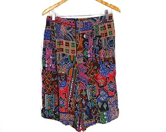 ON SALE Abstract Tribal Print 80s High Waisted Shorts