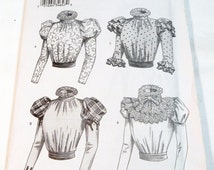 """Steampunk 1800s Blouse with Puff Sleeve Making History sewing pattern Halloween Costume Butterick 3417 Size 18 20 22 Bust 40 42 44"""" UNCUT FF"""