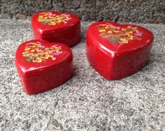 3 Vintage Red Heart Boxes Nesting Flowers Celluloid Trinket Jewelry