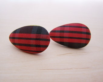Vintage Red and Black Plaid Fabric Covered Teardrop Post Earrings - Gift for Her - A250