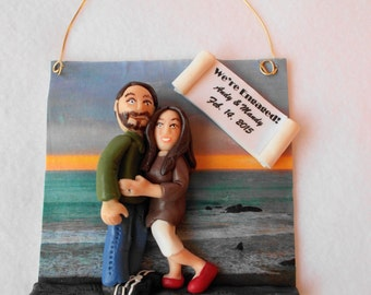 Custom Engagement Christmas Ornament, Custom Polymer Clay Engagement Ornament.  A  Hand Crafted Art Sculpture.