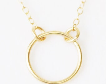 The Karma Necklace ~ Floating Open Circle Necklace 14k gold filled