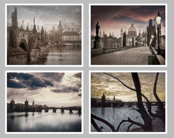 Prague Photography Set of Four, Black And White or Color, The Charles Bridge Photography, Prague City Center