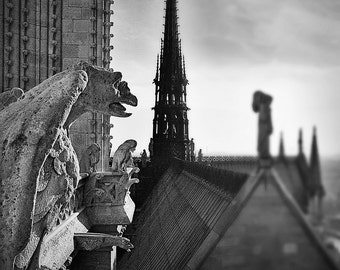 Paris Photography, Notre Dame Gargoyle Photo, Fine Art Photography, Paris Roof Tops