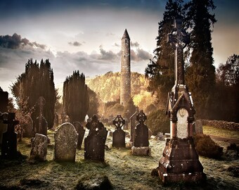 Glendalough Ireland Cemetery, Round Tower, Wicklow County, Saint Kevin's Monastery, Valley of Two Lakes