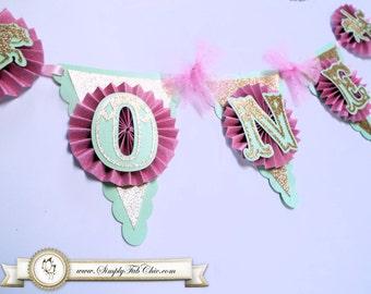 1st Birthday Carousel Horse Highchair Birthday Banner Pink Mint Green