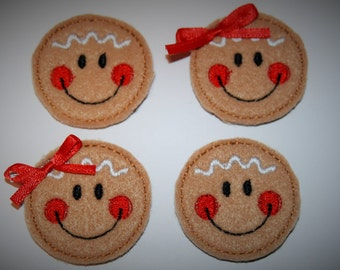 Set of 4 Gingerbread Face Feltie Felt Embellishments
