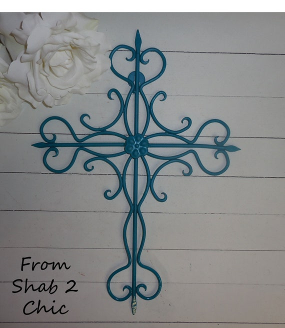 Religious Christmas Wall Decor : Items similar to turquoise metal cross wall art