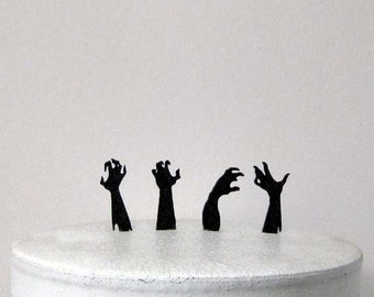 Halloween Wedding Cake Topper, Cupcake Toppers  - 4 Zombie hands