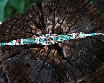 Native Tibetan Turquoise and Coral Tribal Southwestern Style Bracelet