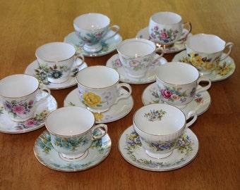 10 Teacup sets, Tea Party, wedding, Bulk teacup sets.