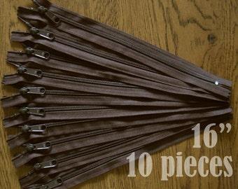 "cij sale, brown handbag zippers, purse zippers, brown zippers, 16"" zippers, ykk zipper, 16 inch zips, wholesale zippers - no. 4.5 10 zippers"