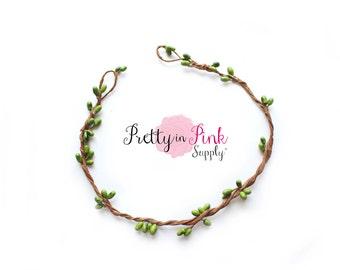 Green/Beaded Twig Crown Wreath-DIY Floral Crown- Flower Crown- Unfinished Crown-Bridal Crown-Twig Crown-Flower Girl Crown- DIY Wedding