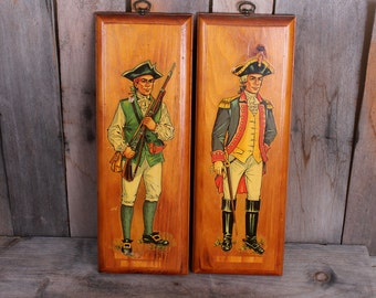 Vintage 1970s Era Pair of Revolutionary War Soldier Decal Wall Hangings on Board