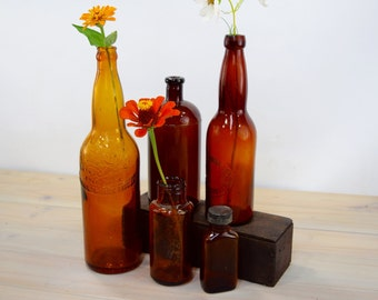 Amber Bottles, Apothecary Brown, Industrial Decor