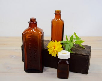 Amber Bottles, Apothecary Brown, Industrial Decor, Medicine