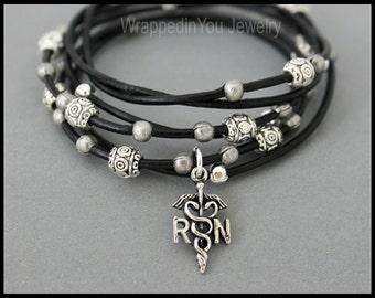 RN Nurse Silver Tibetan Style Boho LEATHER Wrap Bracelet - Adjustable Beaded Leather Ropes Triple Wrap w/ Extension Chain - Usa - 785