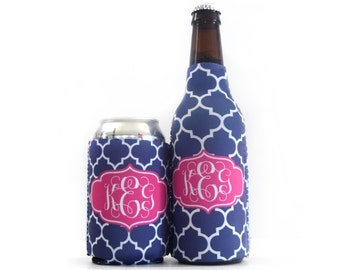 Monogrammed Cozie Set - Can & Bottle Cozies - Personalized Cozys -  Can and Bottle Cooler Set