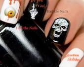 Halloween Nail Art Water Transfer Decal Wraps Skulls Blood Eyeballs #748