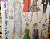 Vintage 1965 Original Barbie Simplicity clothes Pattern #6208. Partially cut, for a 11 1/2 inch tall doll.