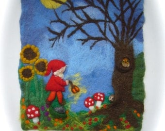 Picture,tapestry,Gnome,Toadstool,Tree,Sunflowers.Wet felted, Felted. Waldorf.Bed time Story.