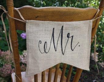 Mr - Burlap Chair Backer - Black Font ON SALE