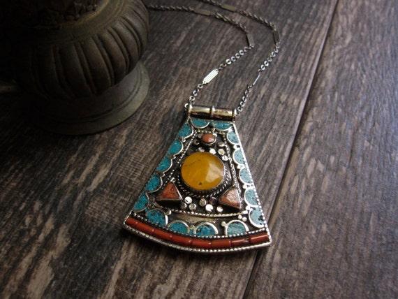 Tibetan Turquoise Pendant Necklace