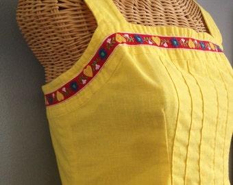 Vintage Yellow Linen Cotton Scandinavian Hippie Bohemian Festival Summer Sun Dress M