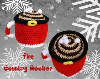 Crochet Hot Chocolate with Marshmallows Hat Beanie Santa Mug Christmas Winter