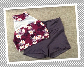 High Neck Floral Set (in Burgundy & Charcoal)