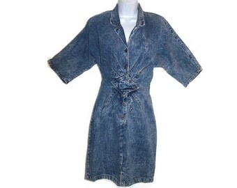 Vintage Acid Washed Dress, Denim Dress, Blue Jean Dress, Body Hugging Dress, Vintage 80s Dress, Womens Size 8 Dress, Juniors Size 7 Dress