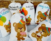 "Birthday Bear Favor Bags Birthday Party or School events for Treat's or gift Can be personalized 5"" X 7"" or 6"" X 8"" Qty 6"