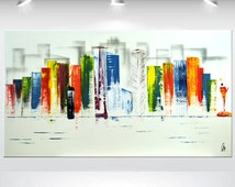 acrylic abstract painting skyline NEW YORK wall art canvas colorful painting fine art painting stretched canvas huge XXL painting