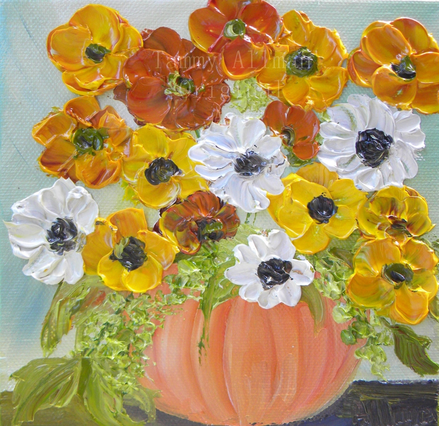 Original floral painting pumpkin floral by kenziescottage Flower painted pumpkins