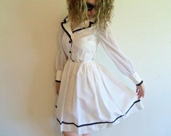 Vintage Designer Heiser White and Black Short Formal Sailar Dress
