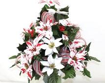 Beautiful Peppermint White Poinsettia's Christmas Cemetery Flower Arrangement
